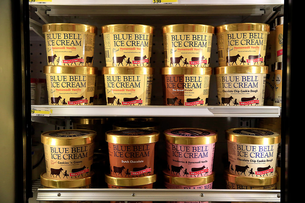Blue Bell Ice Cream is seen on shelves of an Overland Park grocery store prior to being removed on April 21, 2015 in Overland Park, Kansas. (Jamie Squire/Getty Images)