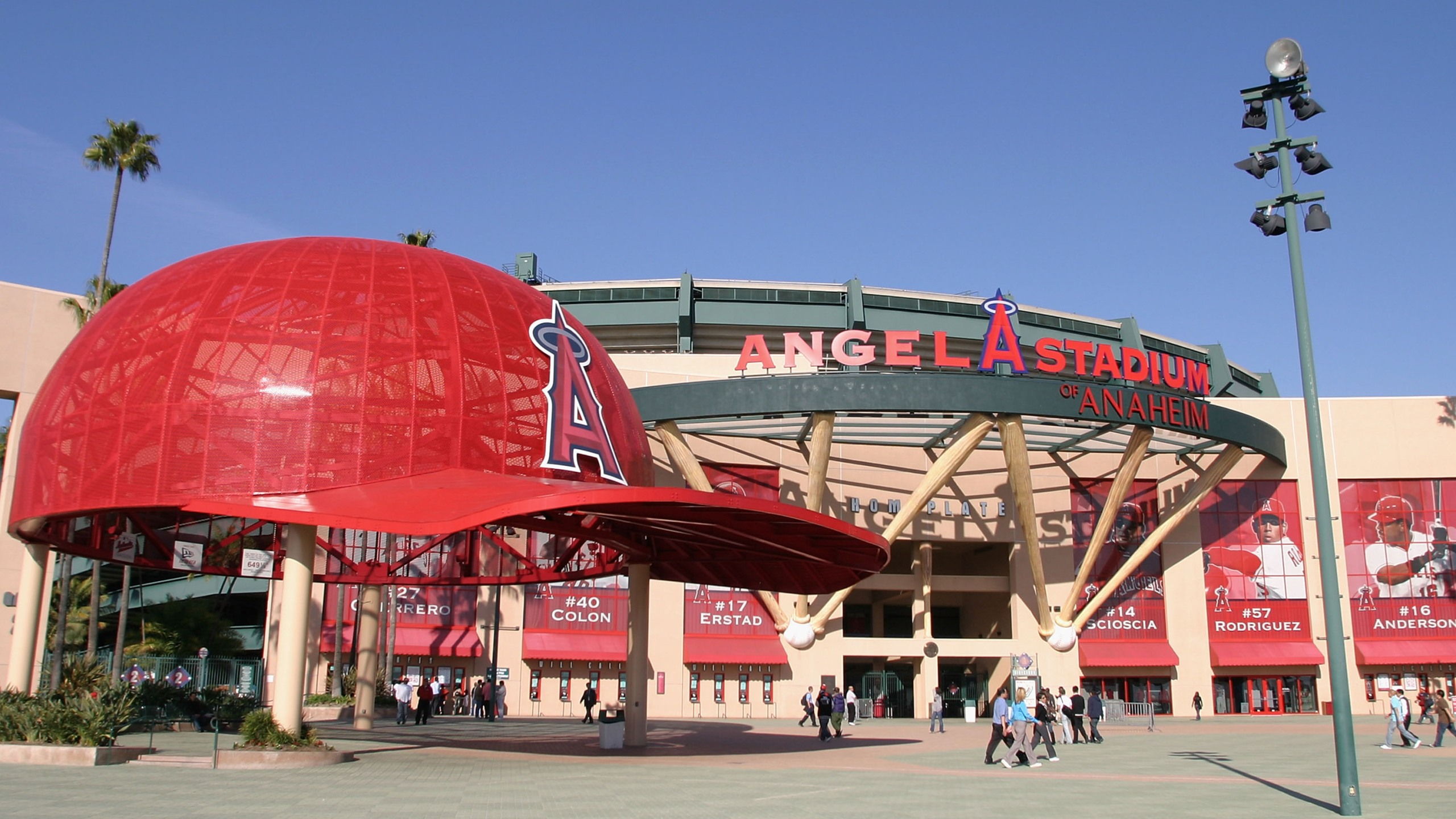 General view of the exterior of Angel Stadium on March 15, 2006. (Christian Petersen/Getty Images)