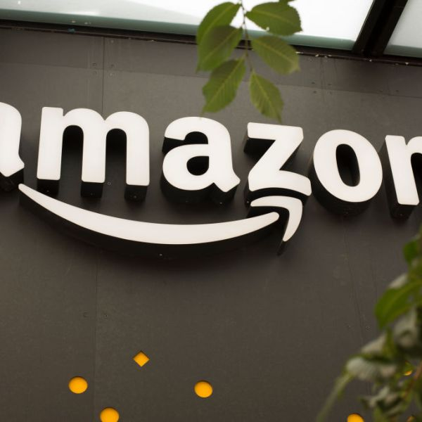 The Amazon logo is shown in a file photo. (David Ryder/Getty Images)
