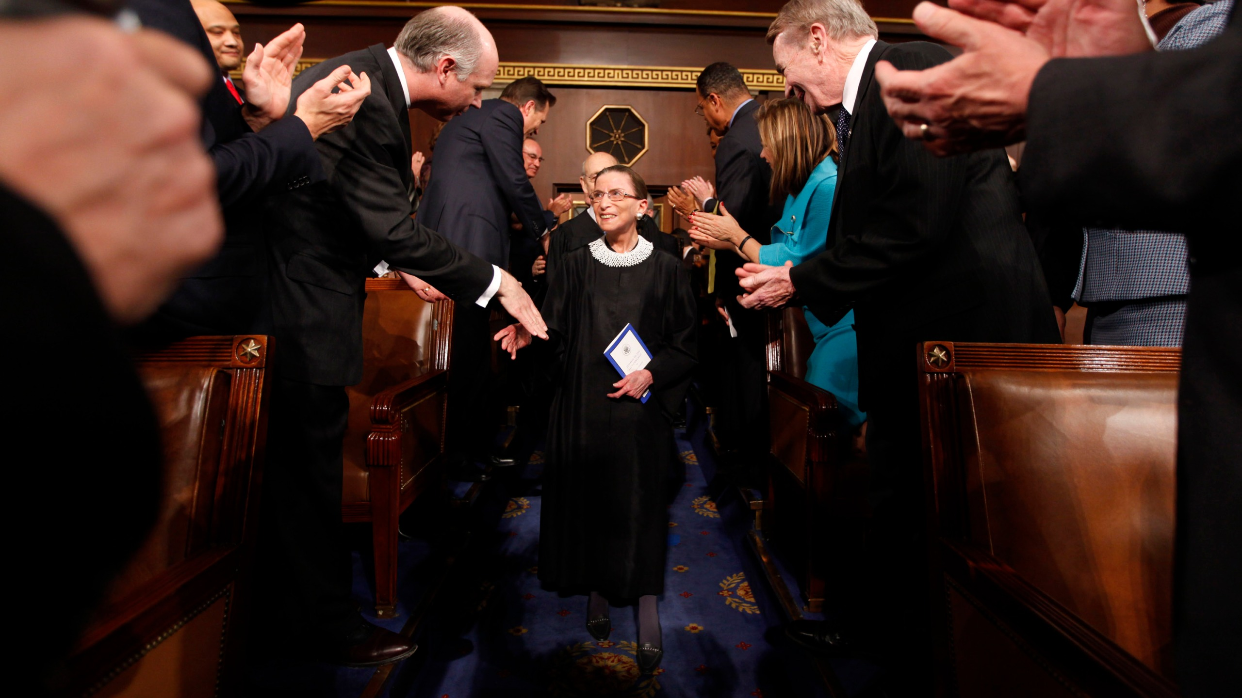 Associate Supreme Court Justice Ruth Bader Ginsburg arrives for President Barack Obama's address to a joint session of Congress in the House Chamber of the U.S. Capitol on Feb. 24, 2009. (Pablo Martinez Monsivais / Getty Images)