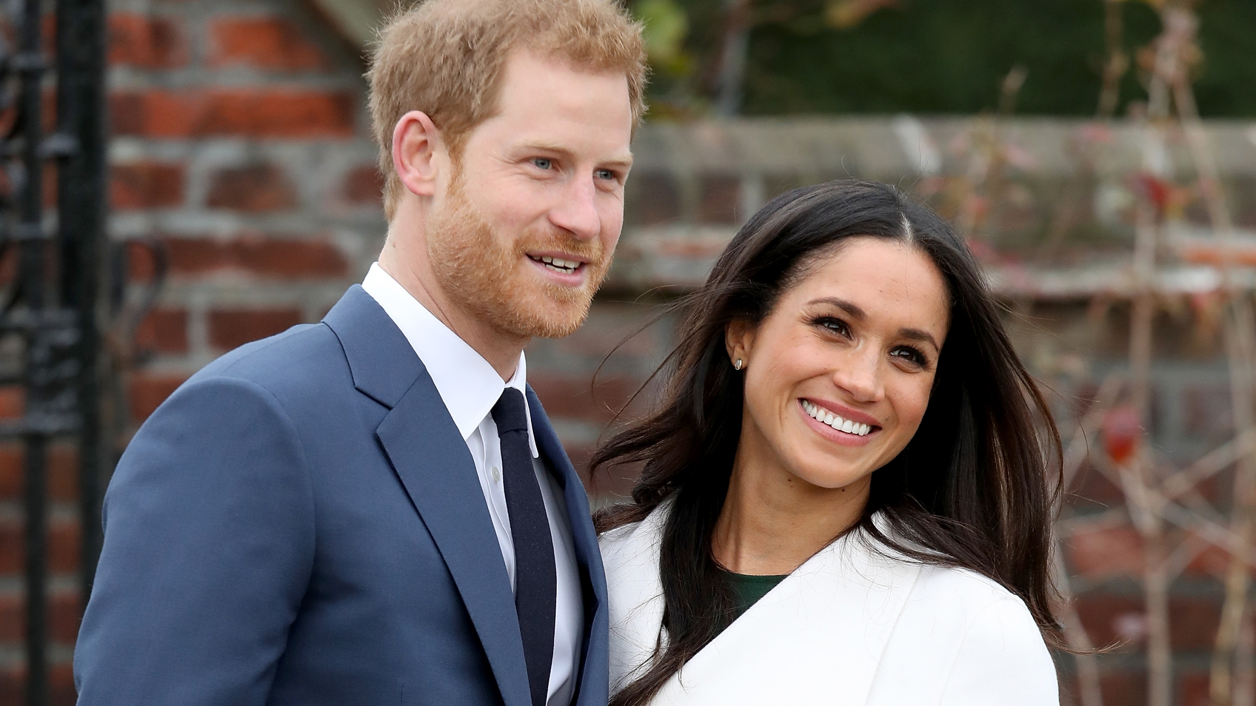 Prince Harry and actress Meghan Markle during an official photocall to announce their engagement at The Sunken Gardens at Kensington Palace on November 27, 2017, in London, England. (Chris Jackson/Chris Jackson/Getty Images)