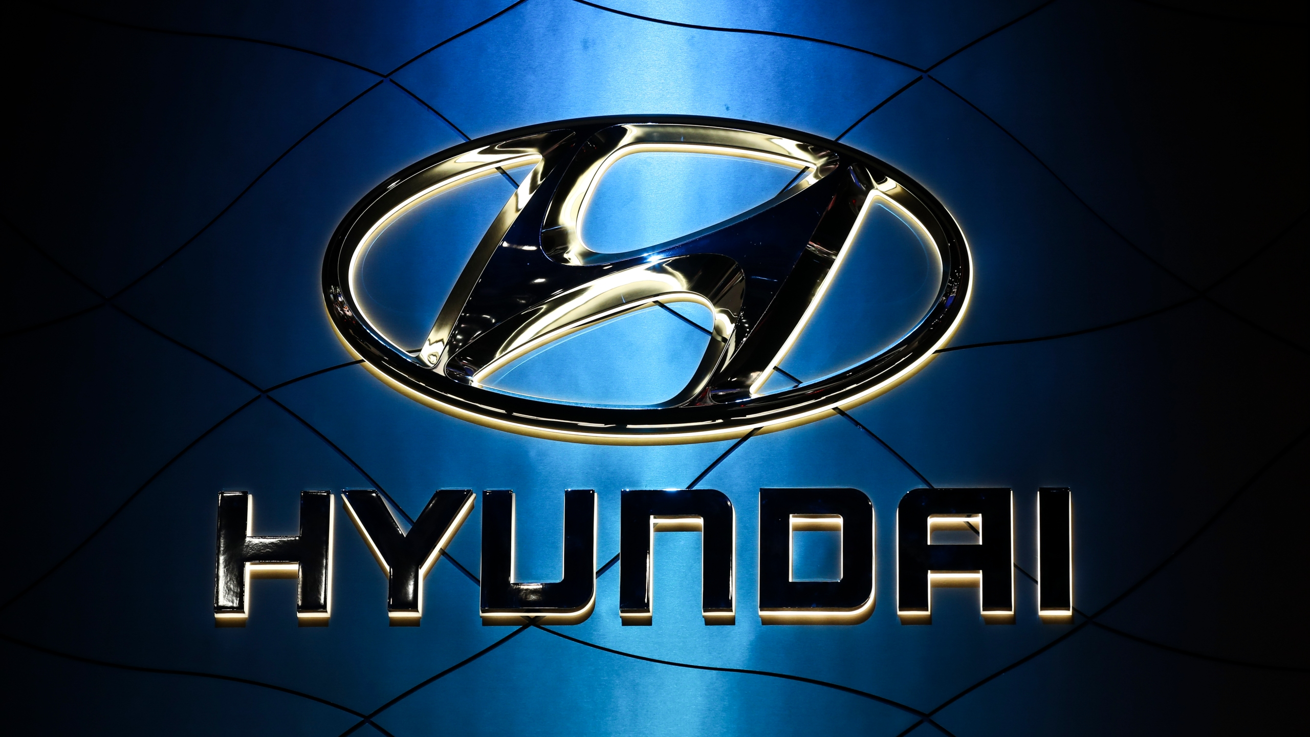 The Hyundai logo is displayed at the New York International Auto Show on March 28, 2018, at the Jacob K. Javits Convention Center in New York City. (Drew Angerer / Getty Images)