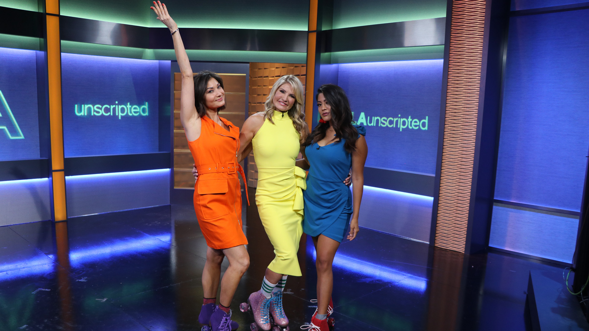"KTLA's Dayna Devon, Megan Telles, and Liberté Chan appear on set during a taping of ""LA Unscripted."" (KTLA)"