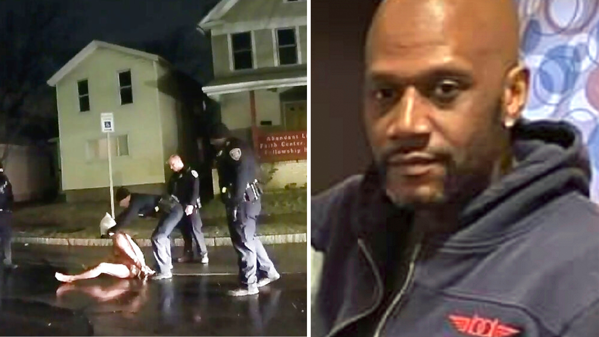In this image taken from police body camera video provided by Roth and Roth LLP on Sept. 2, 2020, a Rochester police officer puts a hood over the head of Daniel Prude, on March 23, 2020, in Rochester, N.Y. On the right, Prude is seen in an undated photo. (Roth and Roth LLP via AP, File)