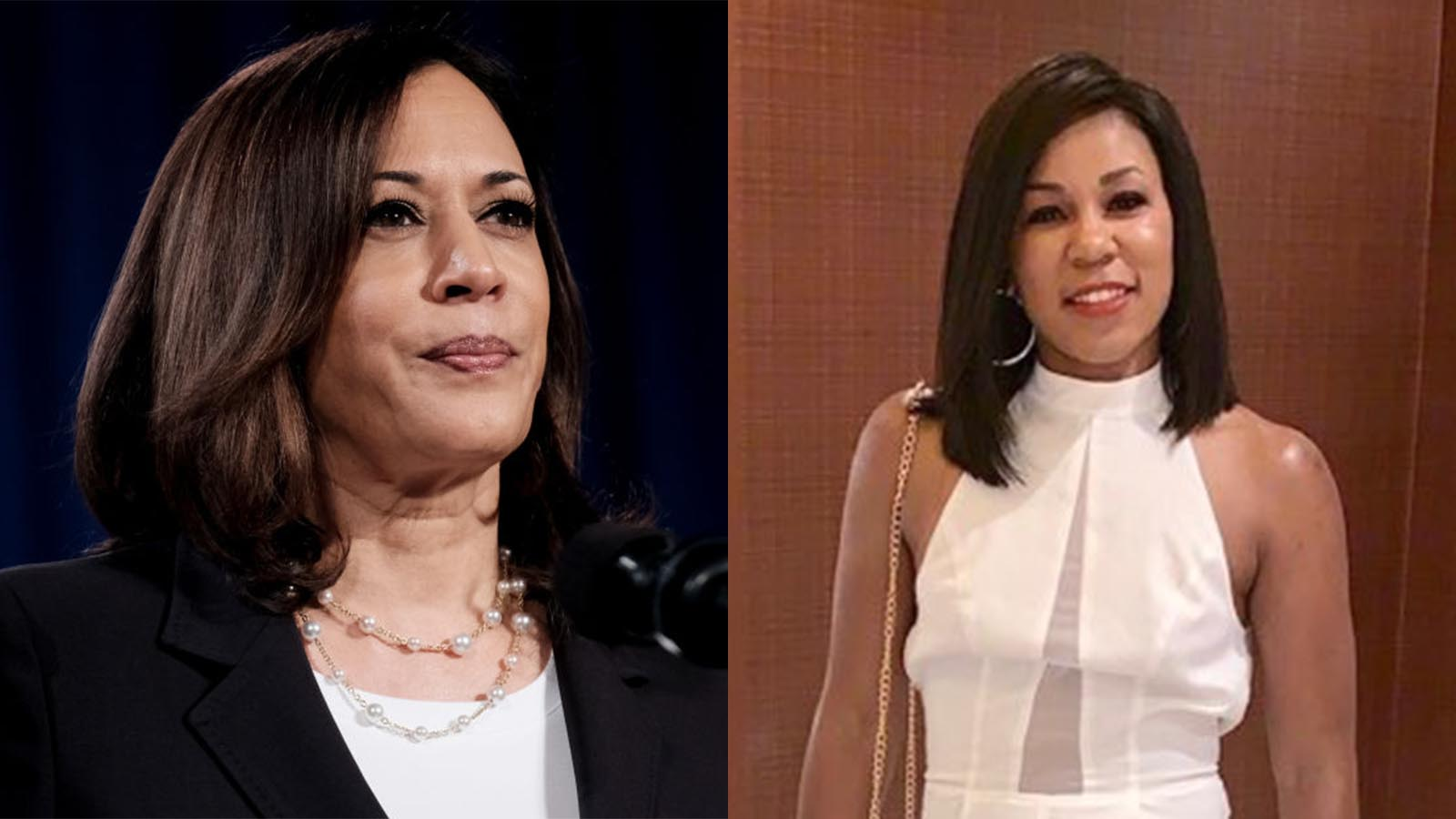 Democratic Vice Presidential nominee Sen. Kamala Harris (D-CA.) and 33-year-old Cynthia Anne, shown before undergoing surgery.(Getty/Courtesy)