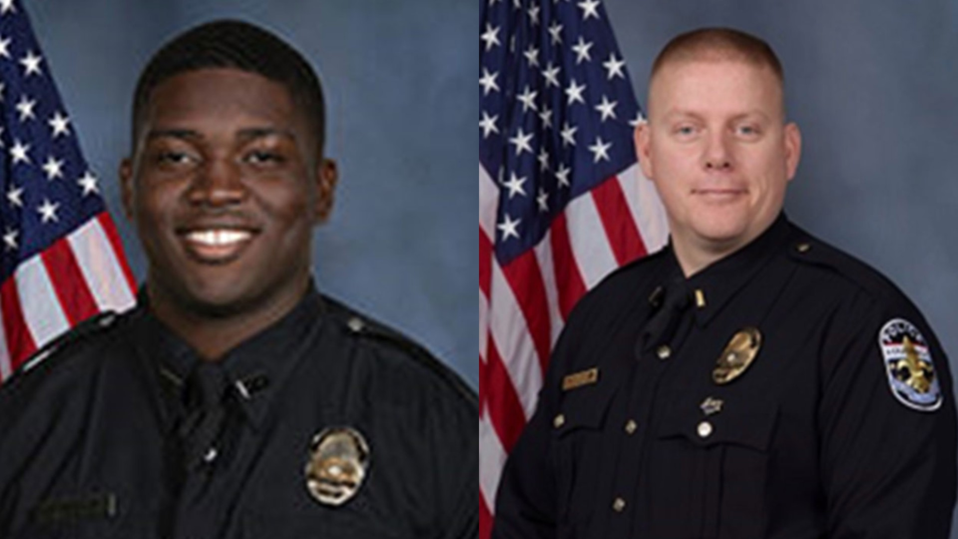 Officer Robinson Desroches, left, and Major Aubrey Gregory, right, are seen in photos released by the Louisville Metro Police Department.