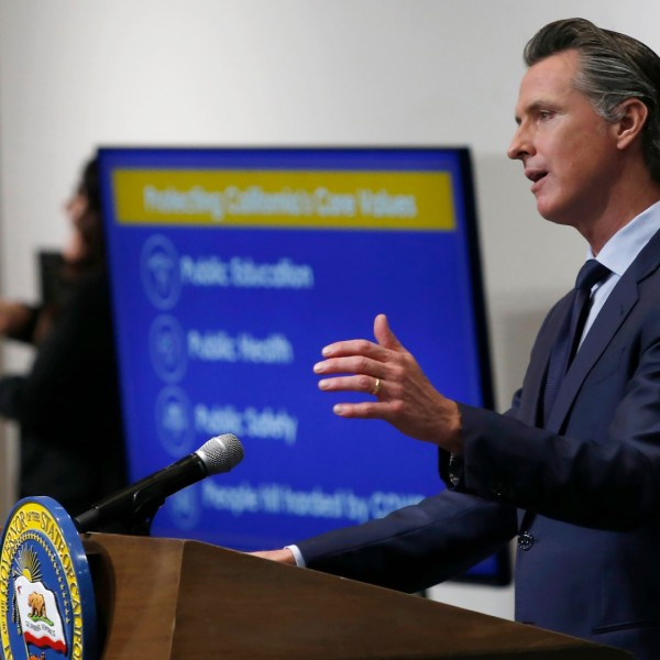In this May 14, 2020, file photo, California Gov. Gavin Newsom discusses his revised 2020-2021 state budget during a news conference in Sacramento. (AP Photo/Rich Pedroncelli, Pool)