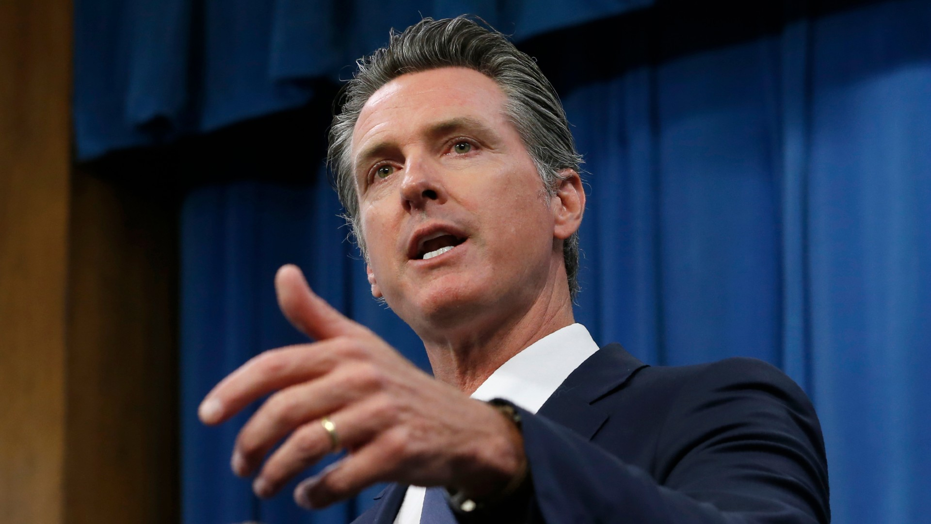 In this July 23, 2019, file photo, Gov. Gavin Newsom talks to reporters at his Capitol office in Sacramento.(Rich Pedroncelli / Associated Press)