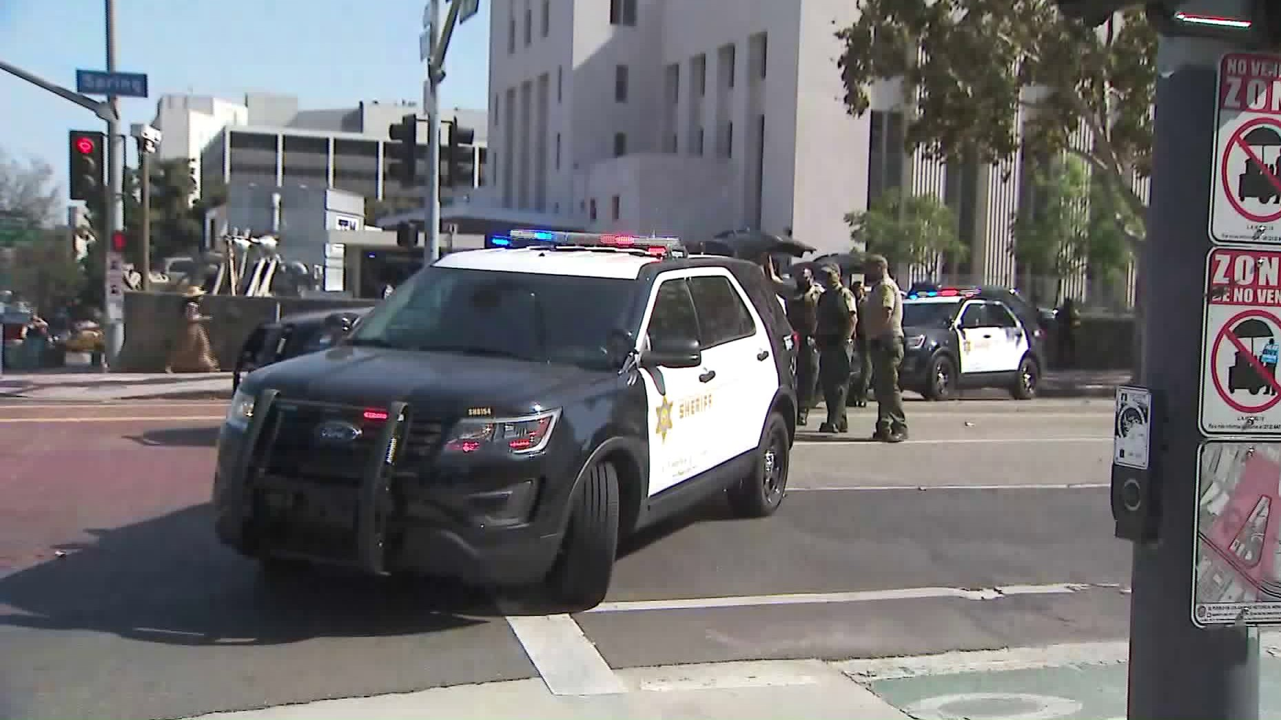 Sheriff's patrol units block off a downtown L.A. street to traffic ahead of anticipated protests in the Breonna Taylor case on Sept. 23, 2020. (KTLA)