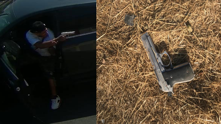 San Bernardino police released this images on Sept. 5, 2020 of a man pointing a gun behind him and a weapon on a field.