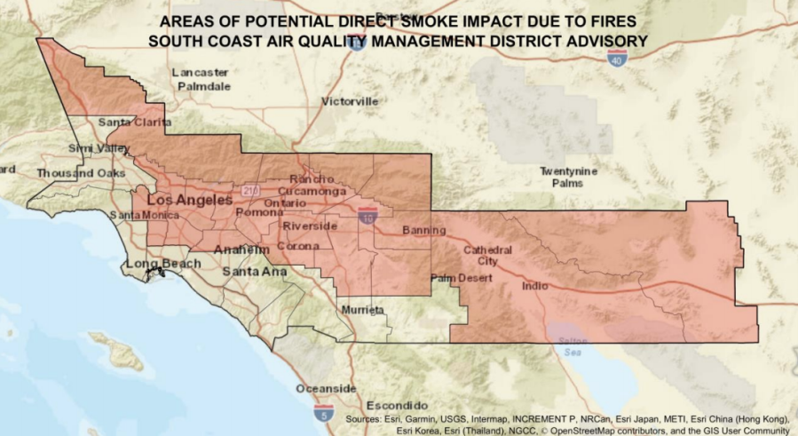The South Coast AQMD released this map indicating the areas that could be affected by smoke from the Bobcat and El Dorado fires on Sept. 8, 2020.