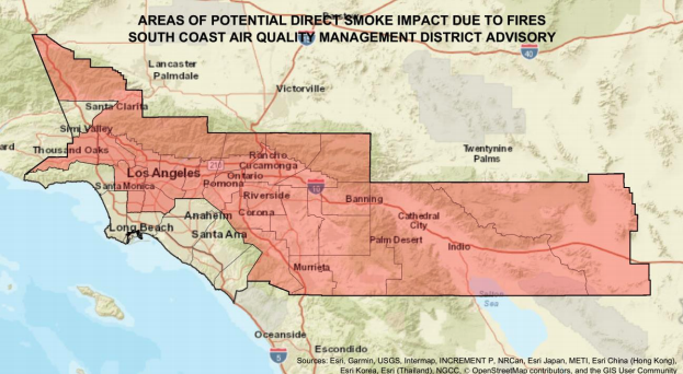 A photo shared by the South Coast Air Quality Management District on Sept. 11, 2020 shows areas directly impacted by smoke from two local fire.