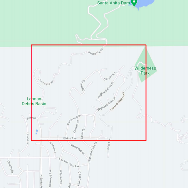The city of Arcadia released this map showing areas asked to evacuate do to the Bobcat Fire on Sept. 13, 2020.