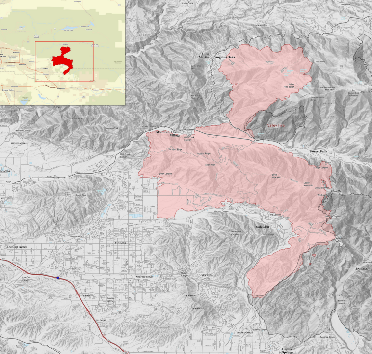 The perimeter of the El Dorado Fire as of Sept. 18, 2020, is shown in an InciWeb map.