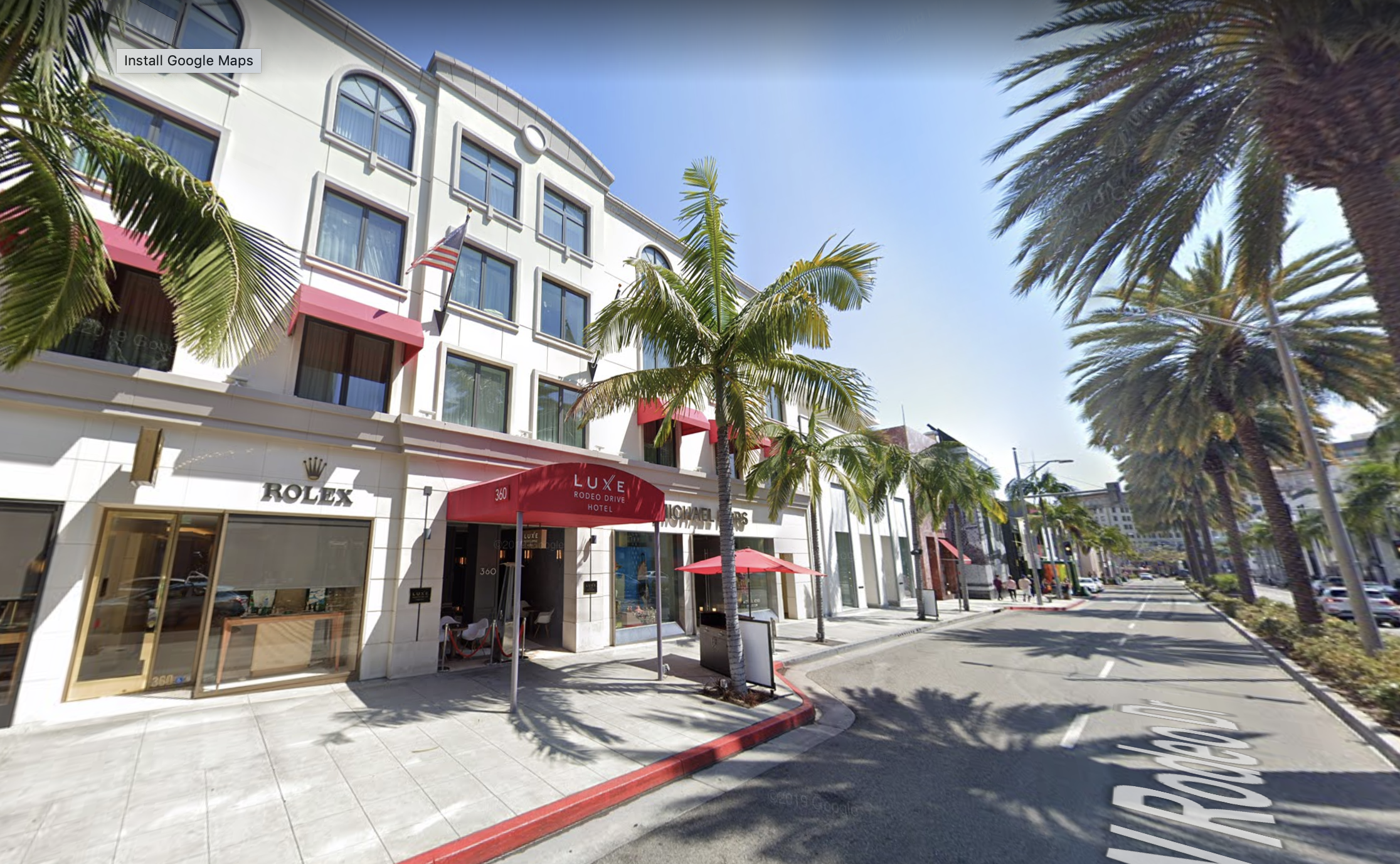 The Luxe Rodeo Drive hotel in Beverly Hills, Calif. appears in an undated image. (Google Maps)
