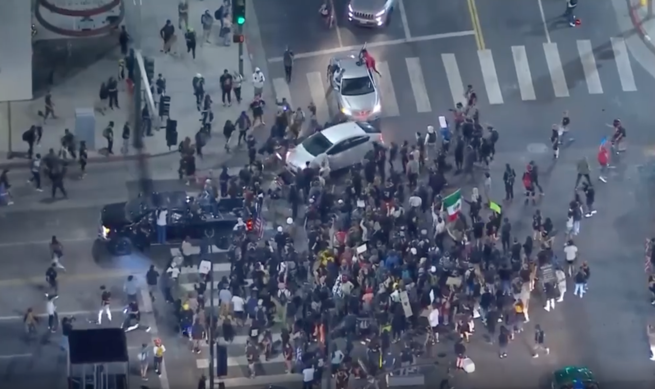 No arrests made after 2 vehicles drove through crowds of protesters in Hollywood, LAPD says