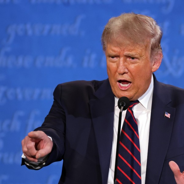 President Donald Trump participates in the first presidential debate against Democratic presidential nominee Joe Biden at the Health Education Campus of Case Western Reserve University on September 29, 2020 in Cleveland, Ohio. (Win McNamee/Getty Images)