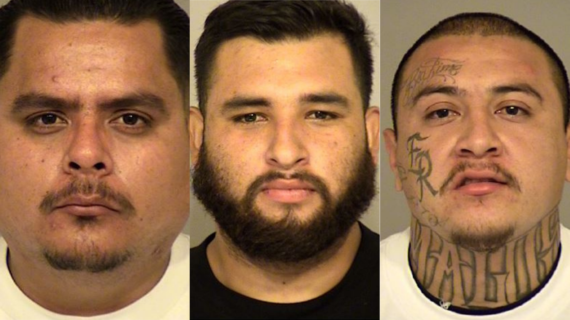 From left: Andrew Robles, Joshua Magdaleno and Joel Mendoza appear in booking photos released by the Ventura County Sheriff's Office on Sept. 27, 2020.