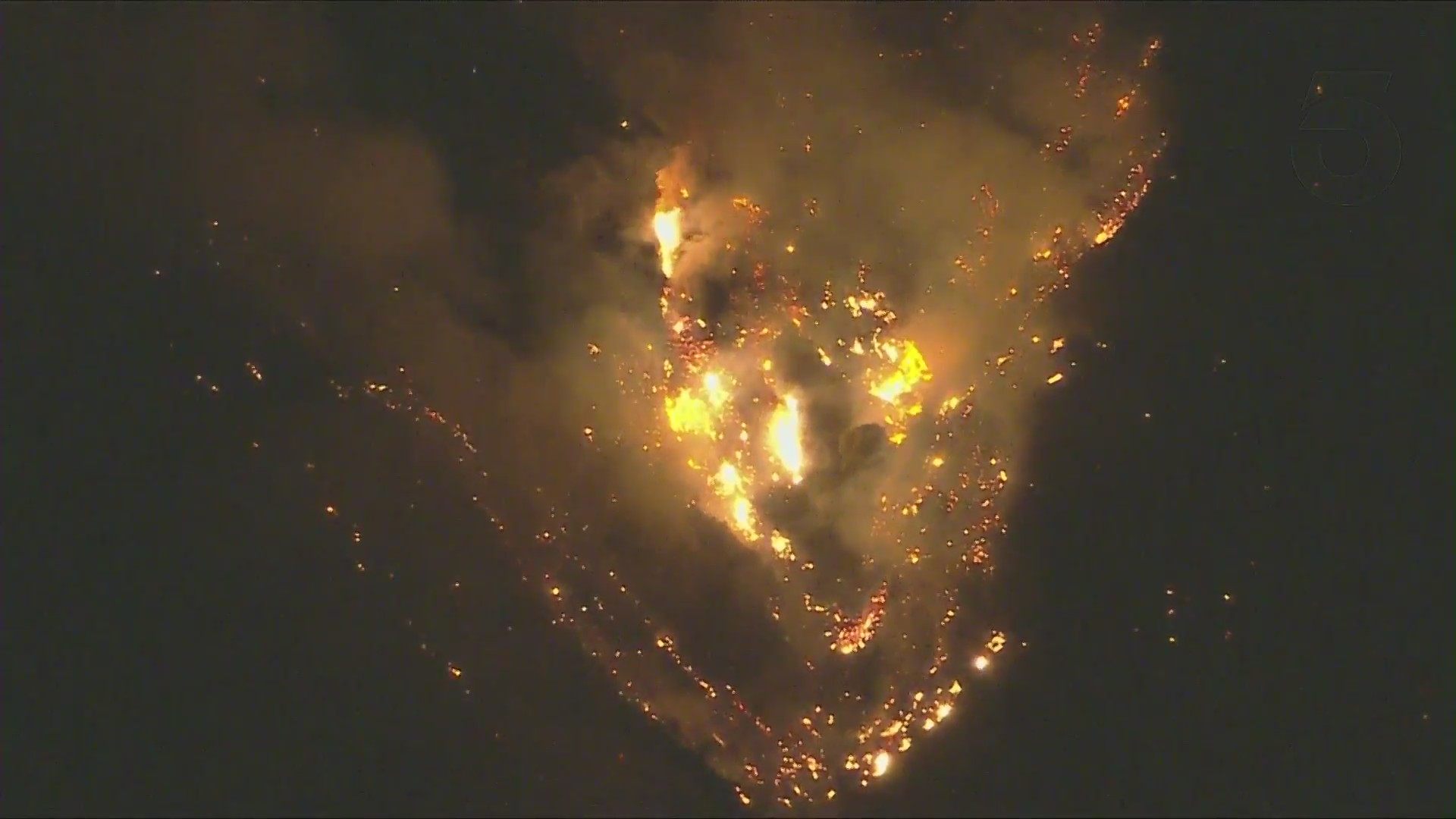 The Bobcat Fire continues burning the area of the Angeles National Forest on Sept. 21, 2020, after scorching more than 100,000 acres. (KTLA)