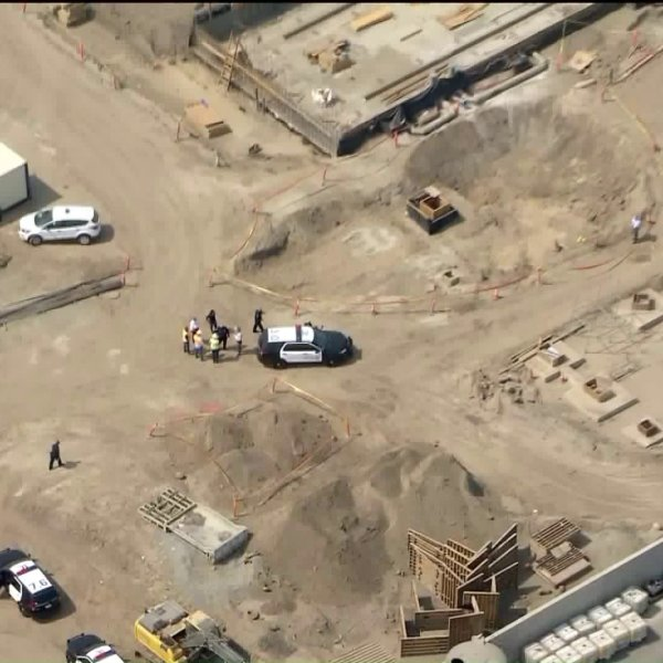 Human bones were found on a construction site in Santa Ana on Sept. 15, 2020. (KTLA)