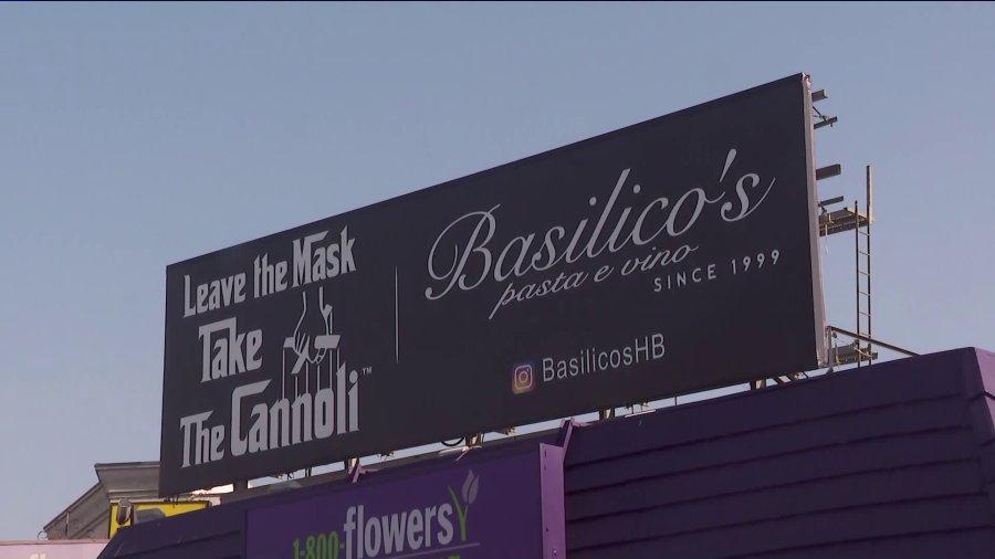 Basilico's Pasta e Vino''s sign in Beverly Grove is seen on Sept. 28, 2020. (KTLA)