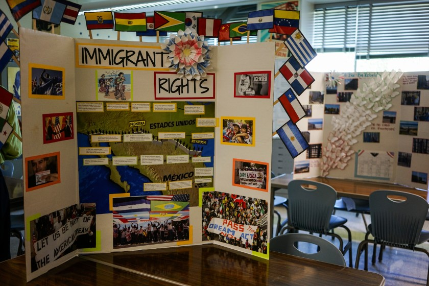 A student project at Camino Nuevo Charter Academy Miramar Campus is seen in this undated photo. (Kent Nishimura / Los Angeles Times)