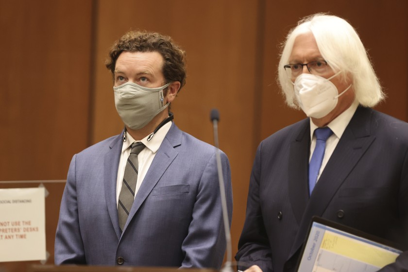 Actor Danny Masterson, left, with his attorney, Tom Mesereau, appears in Los Angeles County Superior Court on Sept. 18, 2020. (Lucy Nicholson / Getty Images)