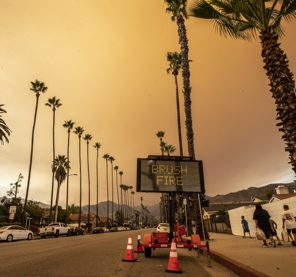 Smoke from the Bobcat fire is seen over Azusa Sept. 9, 2020. (Robert Gauthier/Los Angeles Times)
