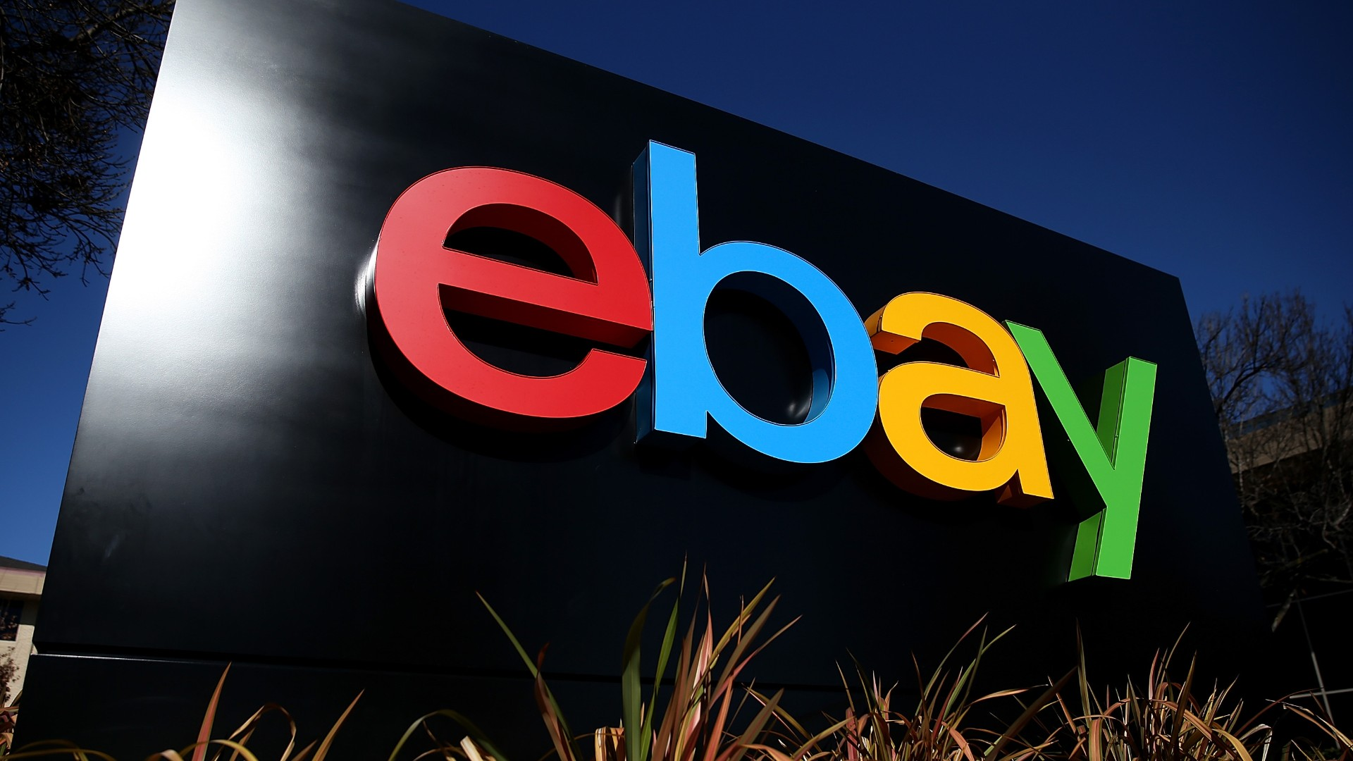 A sign is posted in front of the eBay headquarters on January 22, 2014 in San Jose. (Justin Sullivan/Getty Images)