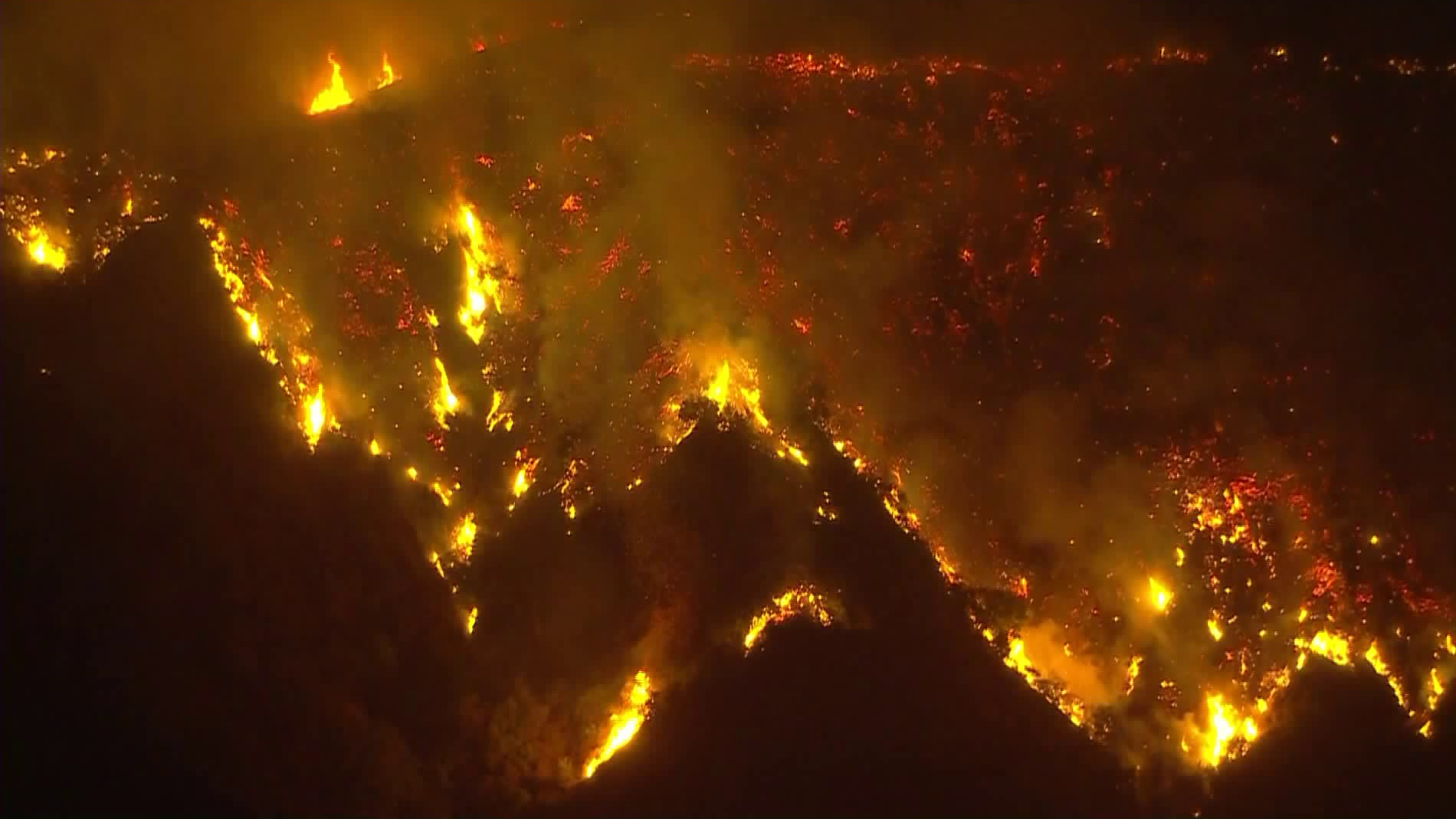 The Bobcat Fire burns intensely in above Monrovia in Angeles National Forest on Sept. 14, 2020. (KTLA)