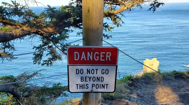 "A ""Danger"" sign at Oswald West State Park along the Oregon Coast, September 28, 2020 (Oregon State Police)"