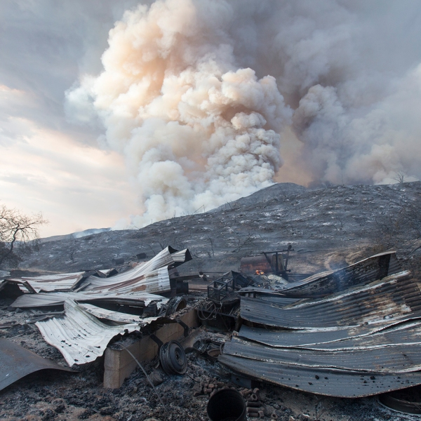 A burned structure is seen in the charred are hit by the El Dorado Fire. (Ringo H.W. Chiu/AP via CNN Wire)