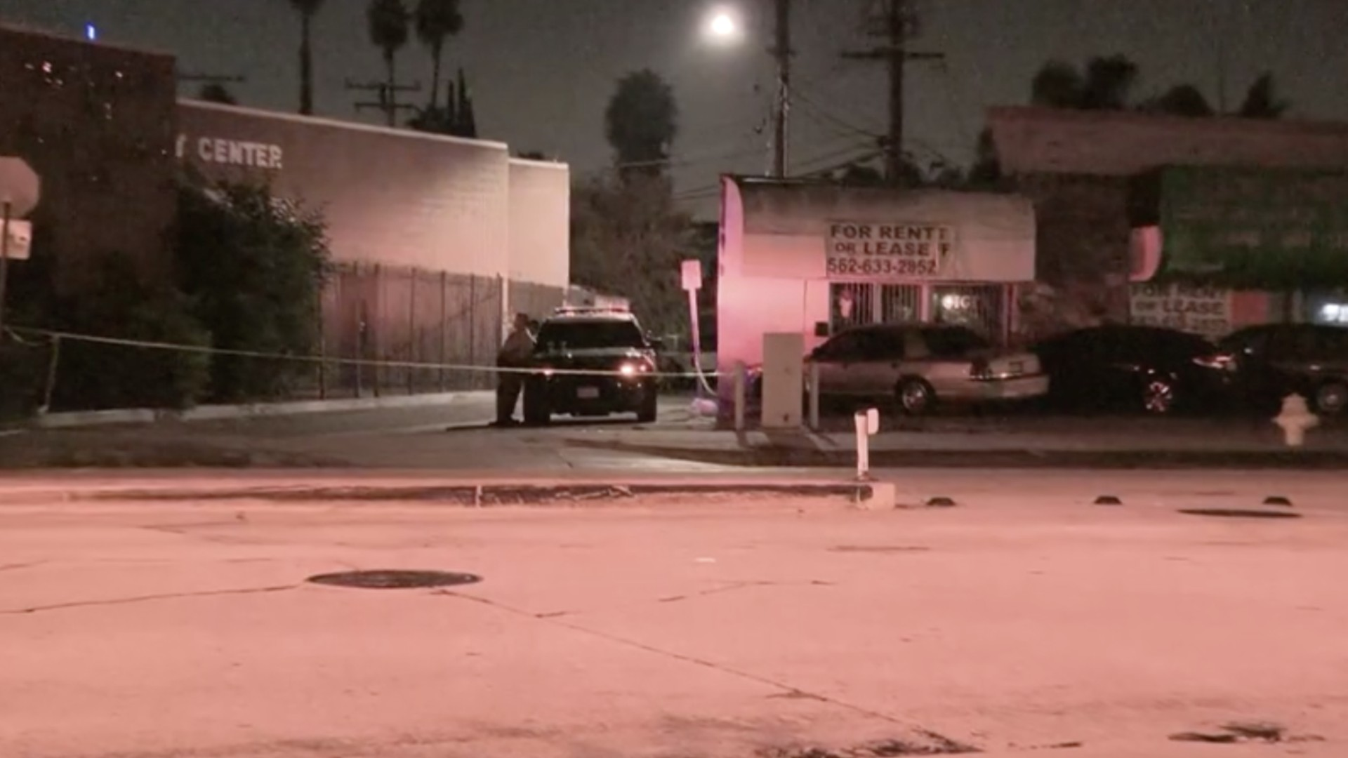 Police investigate a deadly shooting in Lynwood on Sept. 23, 2020. (KTLA)