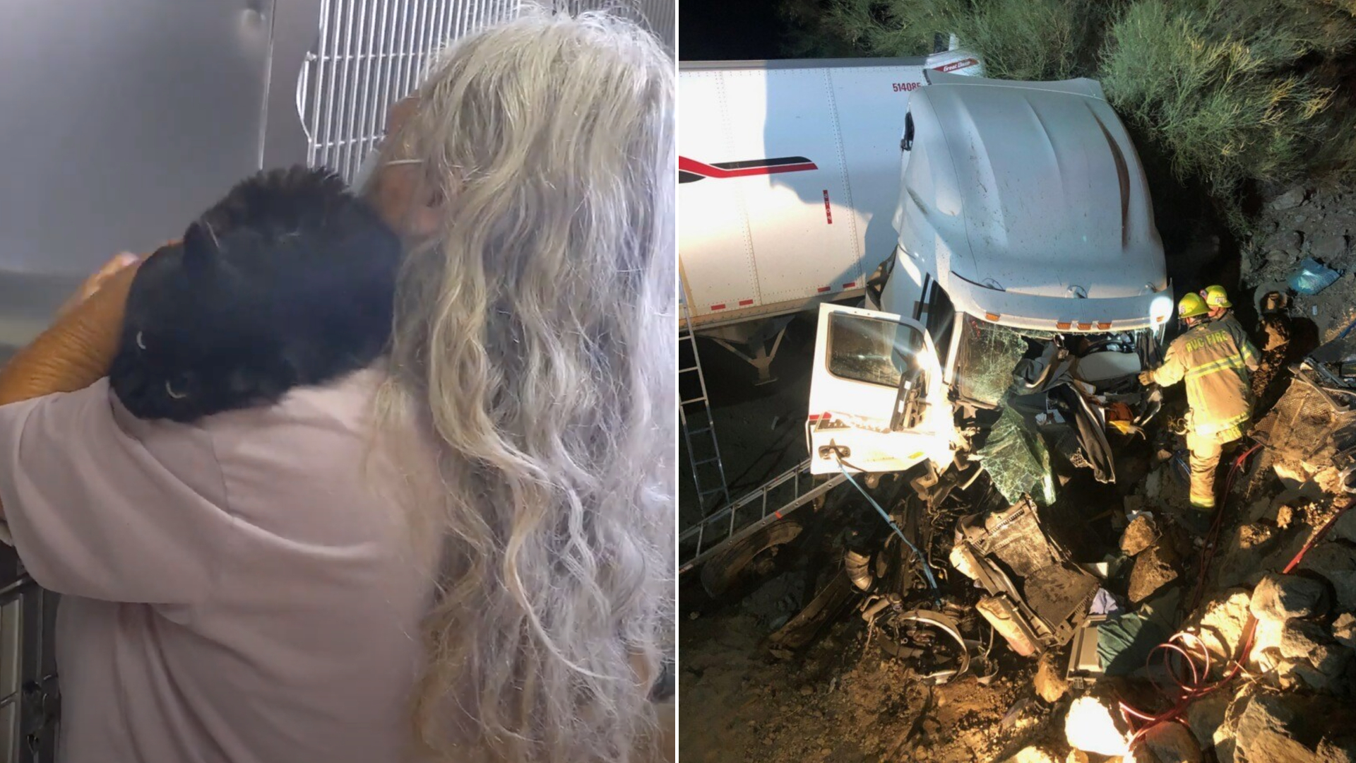 At left, Miss Kitty is cradled by Mary Taylor as the two are reunited at a Thousand Palms animal shelter on Sept. 1, 2020, in a still from video shared by the Riverside County Department of Animal Services. At right, the scene of the Aug. 20, 2020, crash in Banning is seen in a photo provided by Taylor's son, Josh Taylor.