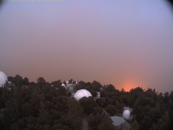The Mount Wilson Observatory is seen as the Bobcat Fire burns in the Angeles National Forest on Sept. 15, 2020. (HPWREN/UC San Diego via Twitter.com/MtWilsonObs)