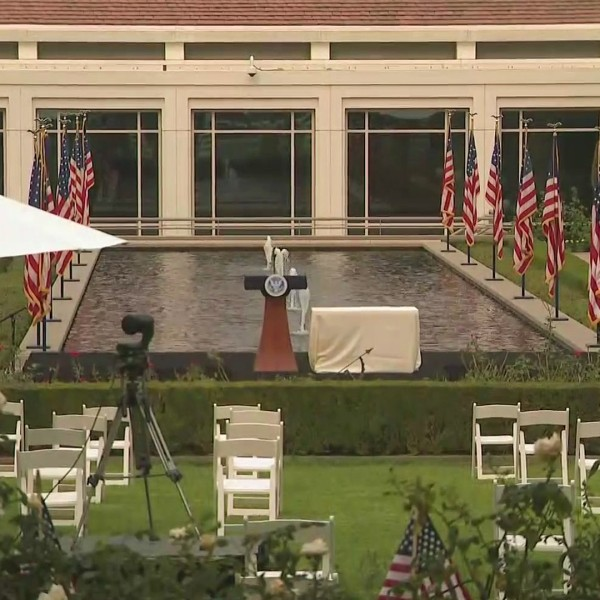 Preparations are made for a 9/11 ceremony at the Richard Nixon Presidential Library and Museum on Sept. 11, 2020. (KTLA)