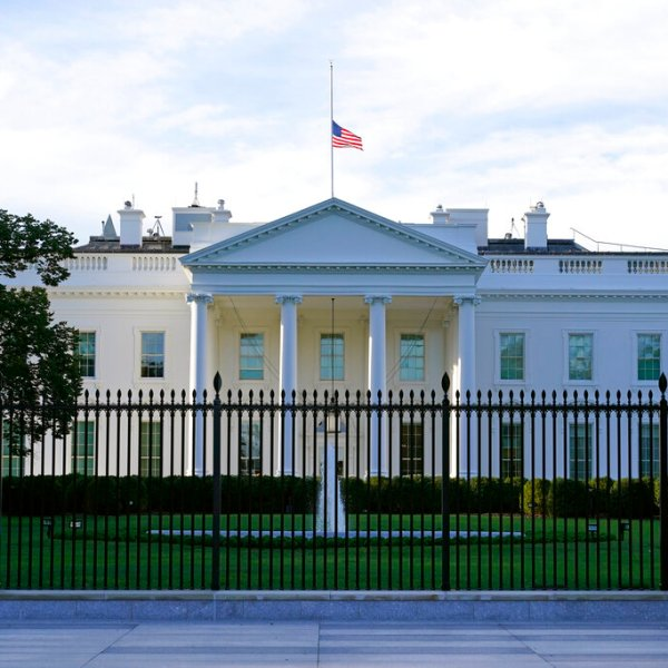 The American flag flies at half-staff over the White House in Washington. (AP Photo/Patrick Semansky, File)