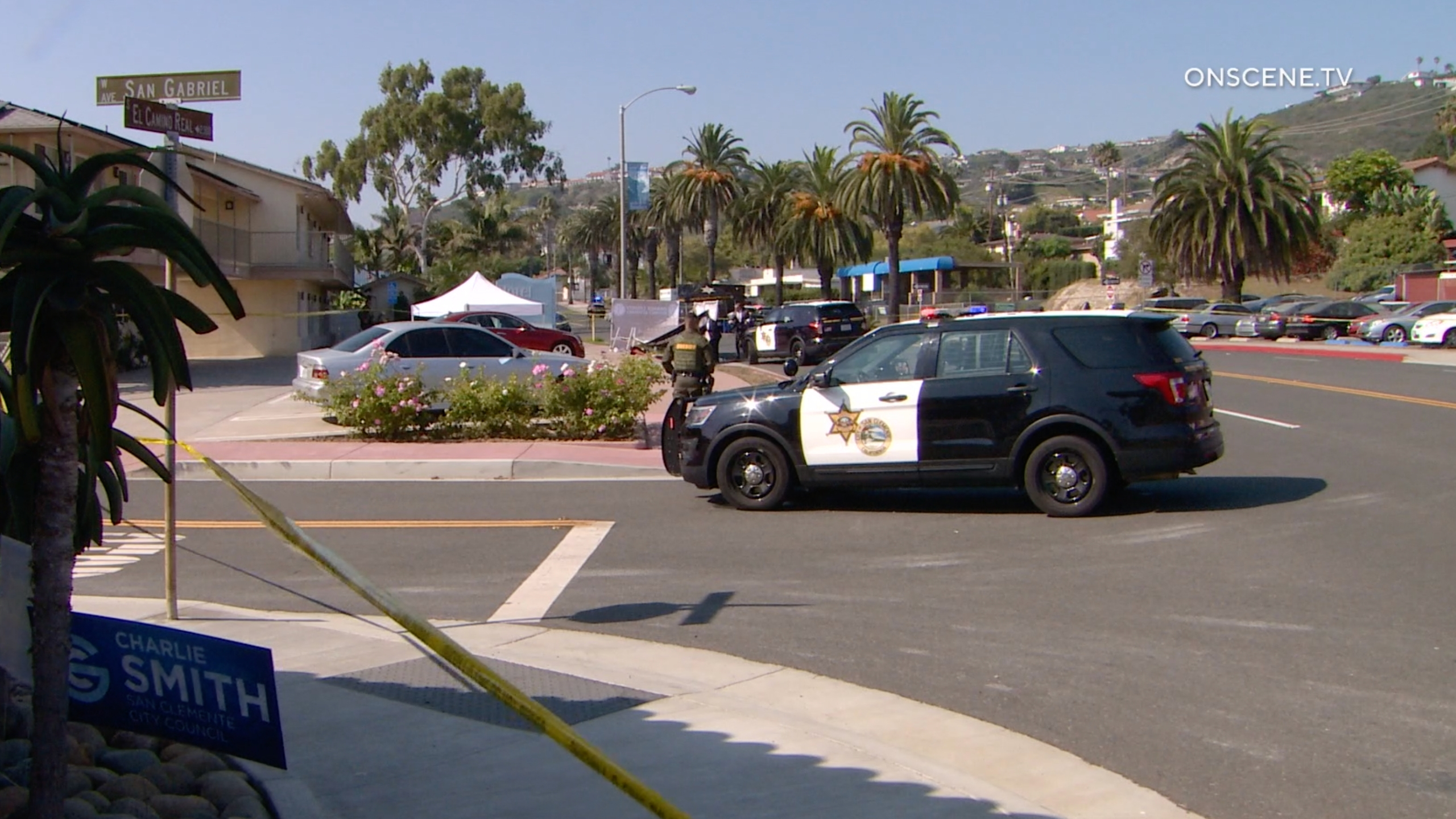 Authorities respond to investigate after deputies fatally shot a man outside a San Clemente hotel on Sept. 23, 2020. (OnScene.TV)