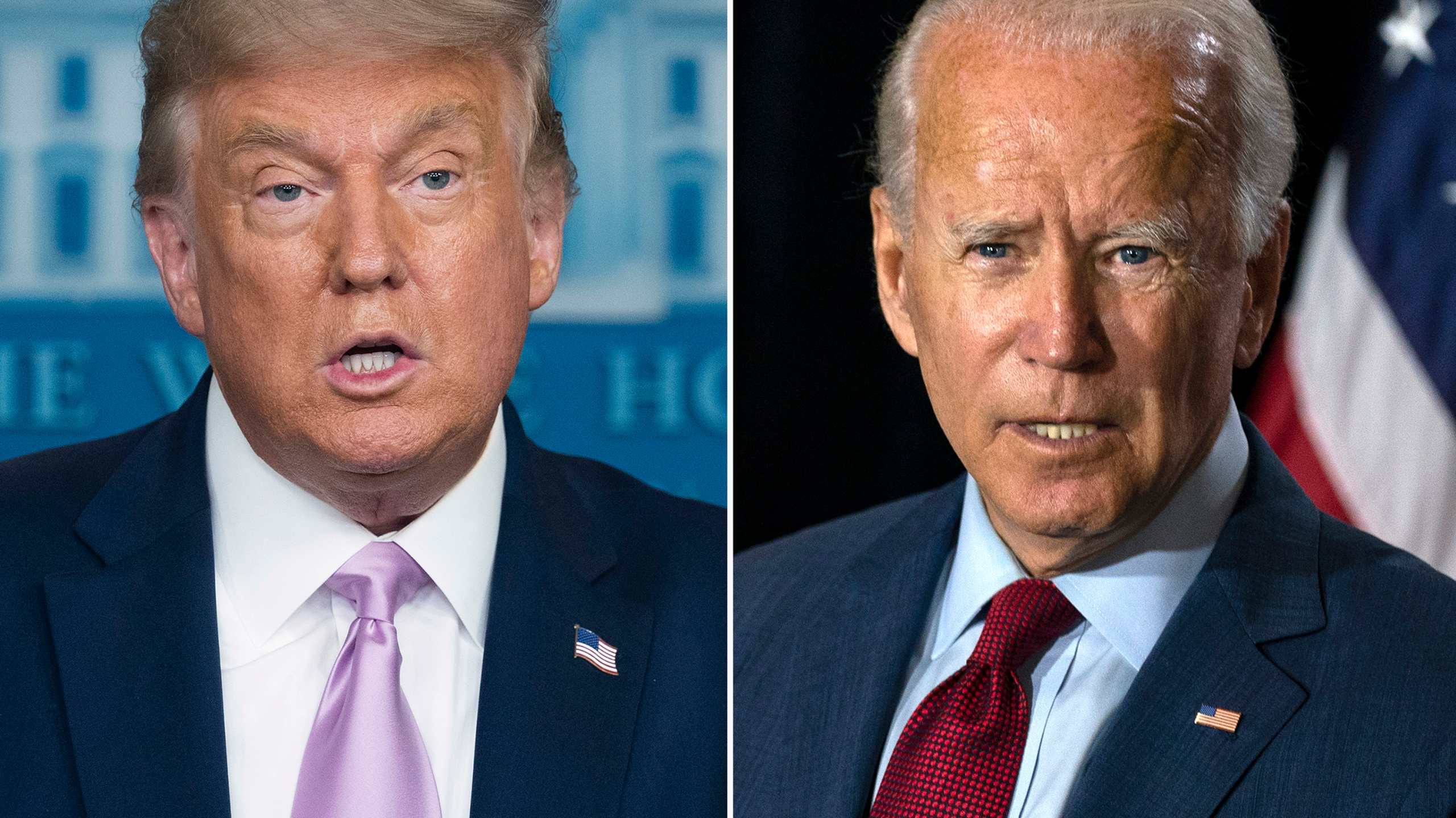 President Donald Trump, left, speaks at a news conference on Aug. 11, 2020, in Washington and Democratic presidential candidate former Vice President Joe Biden speaks in Wilmington, Del. on Aug. 13, 2020. (AP Photo)