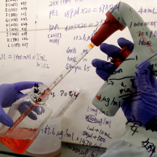 In this July 30, 2020 photo, Kai Hu, a research associate transfers medium to cells, in the laboratory at Imperial College in London. (AP Photo/Kirsty Wigglesworth)