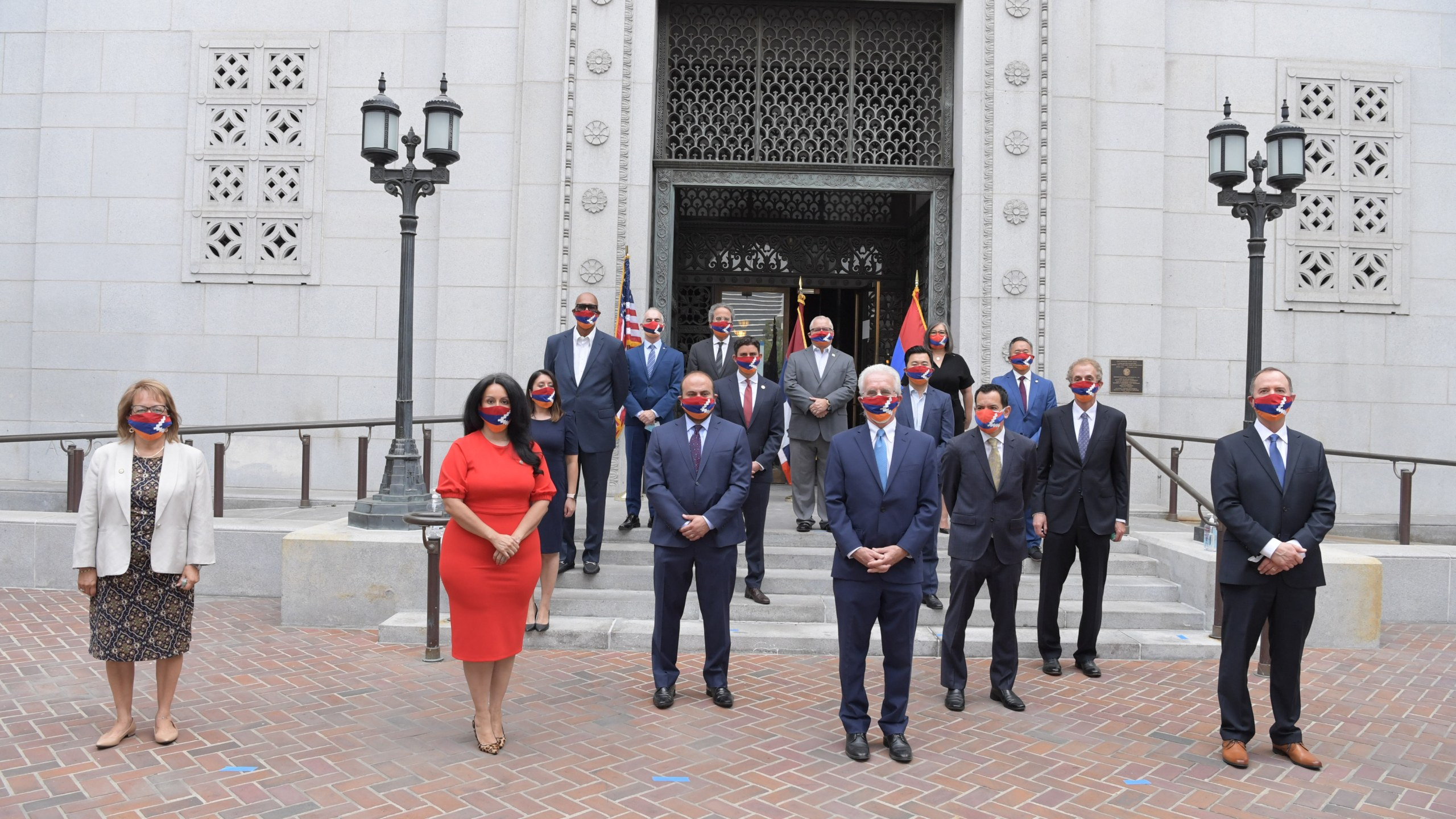 Los Angeles leaders gathered on Oct. 5, 2020, at City Hall to call for peace in Nagorno-Karabakh. (Paul Krekorian)