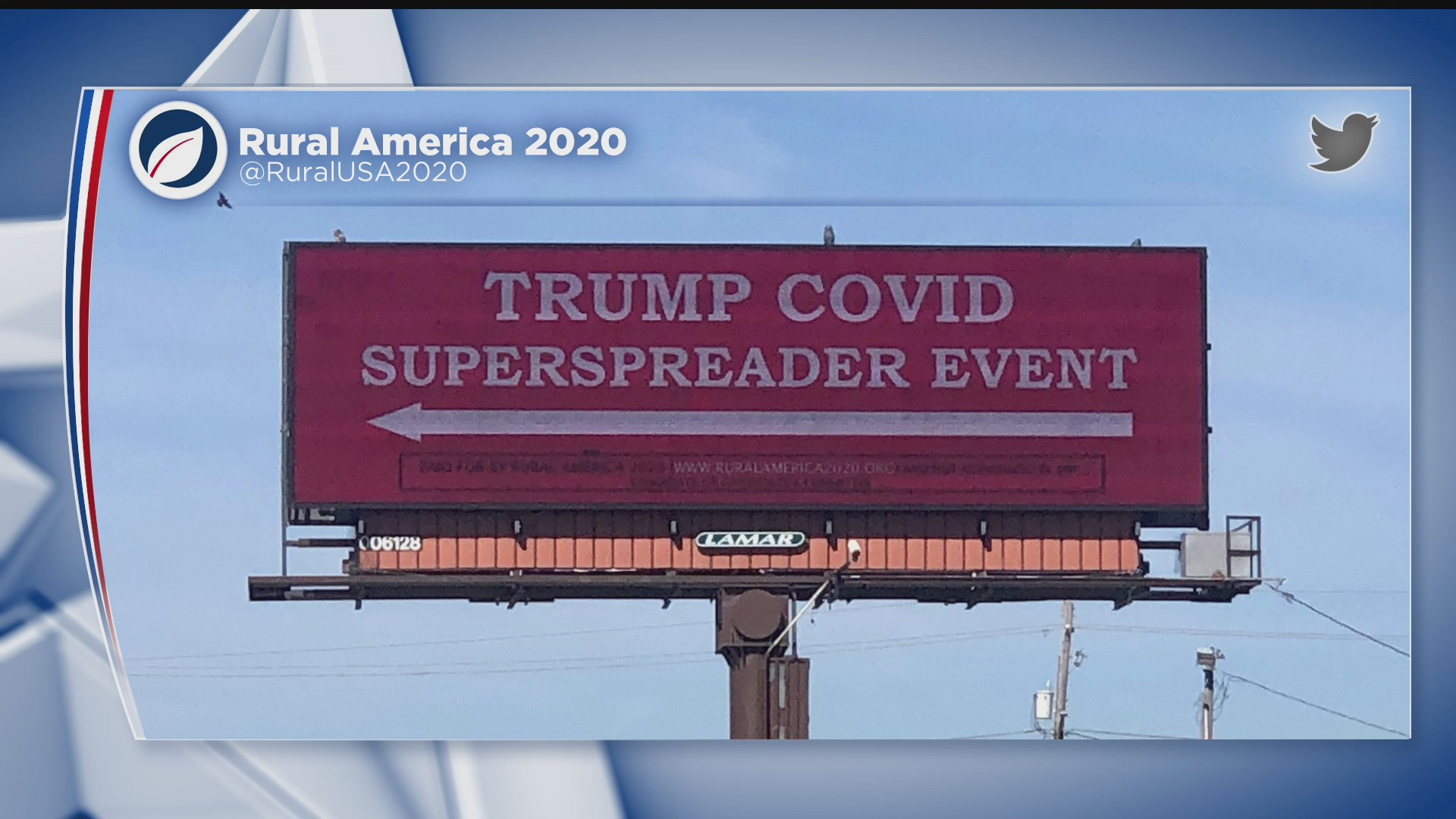 """A billboard across from the Des Moines International Airport reads """"Trump COVID Superspreader Event,"""" ahead of a rally by the president on Oct. 13, 2020. (WHO)"""