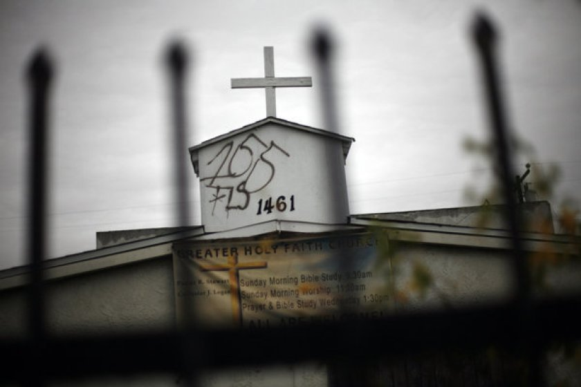 Graffiti is seen on the Greater Holy Faith Baptist Church on 155th Street in Compton in January 2020. (Bob Chamberlin / Los Angeles Times)