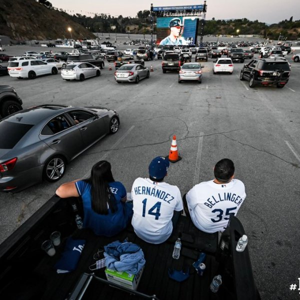 Dodgers fan watch the team's game against the Atlanta Braves from the backseat of a pick-up truck at Dodger Stadium in Elysian Park on Oct. 12, 2020. (Los Angeles Dodgers)