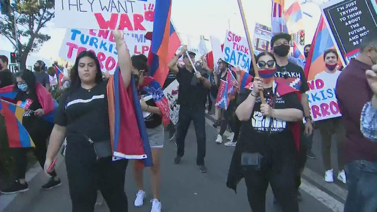 Armenian Americans protest outside SpaceX headquarters in Hawthorne, call on Elon Musk to nix satellite launch for Turkish government