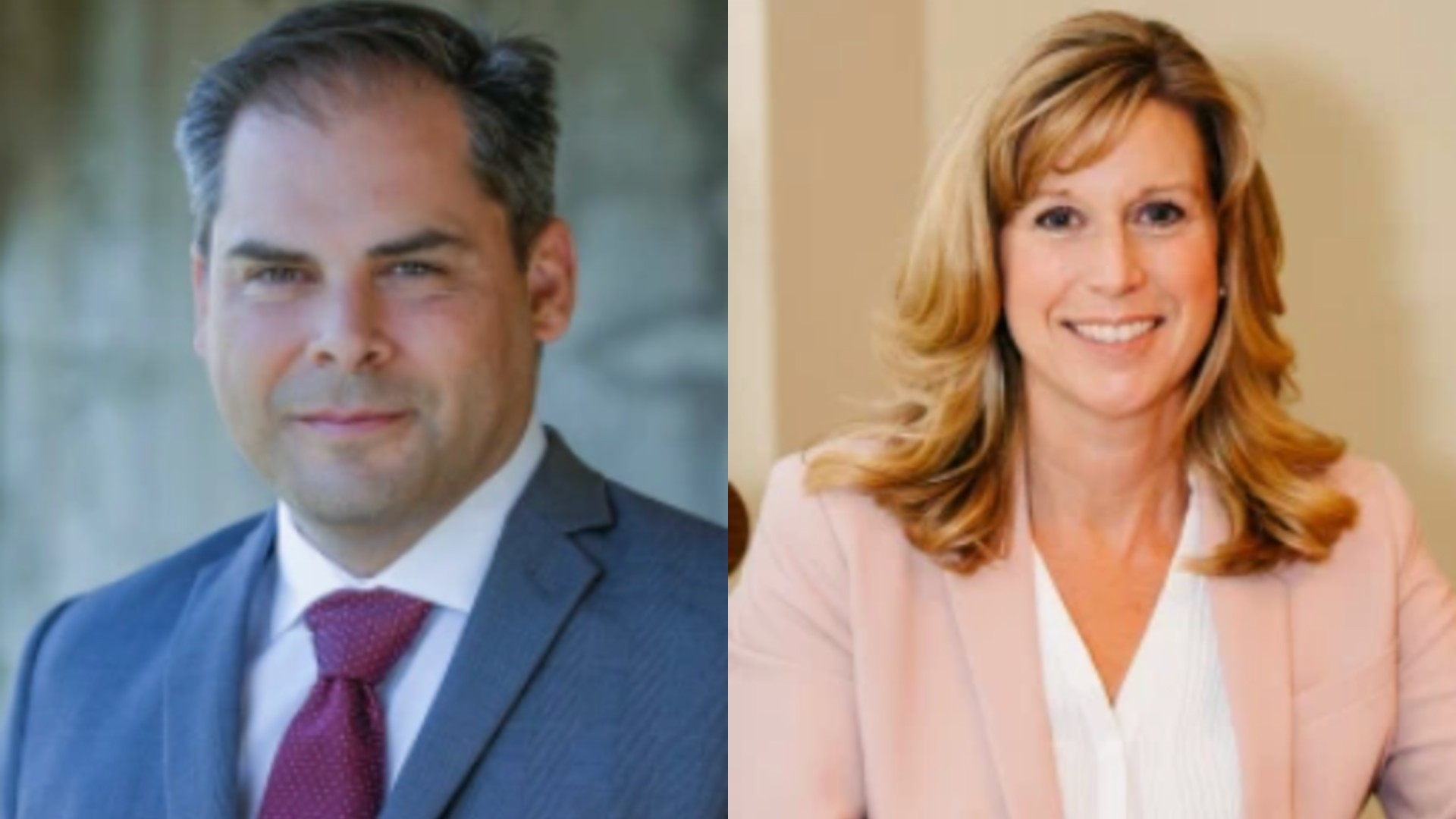 Christy Smith and Mike Garcia are seen in photos that appear on their campaign websites in April 2020.