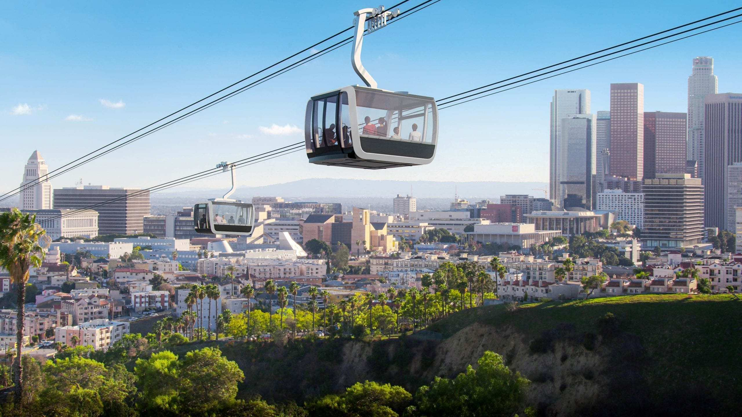 The proposed aerial rapid transit gondola system from Union Station to Dodgers Stadium is seen in a mockup provided by Metro.