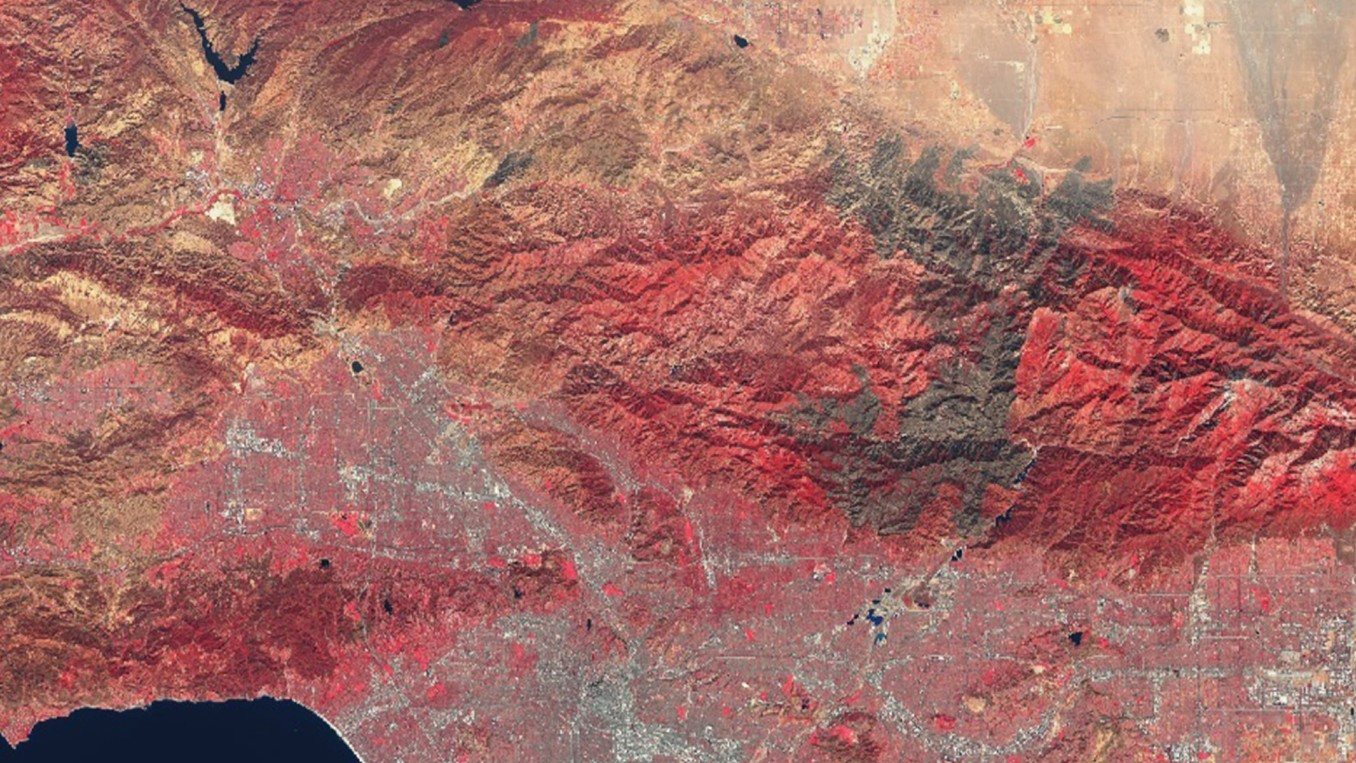 The Angeles National Forest burn scar area as seen from a satellite on Oct. 19, 2020. (Sentinel-2/ESA)