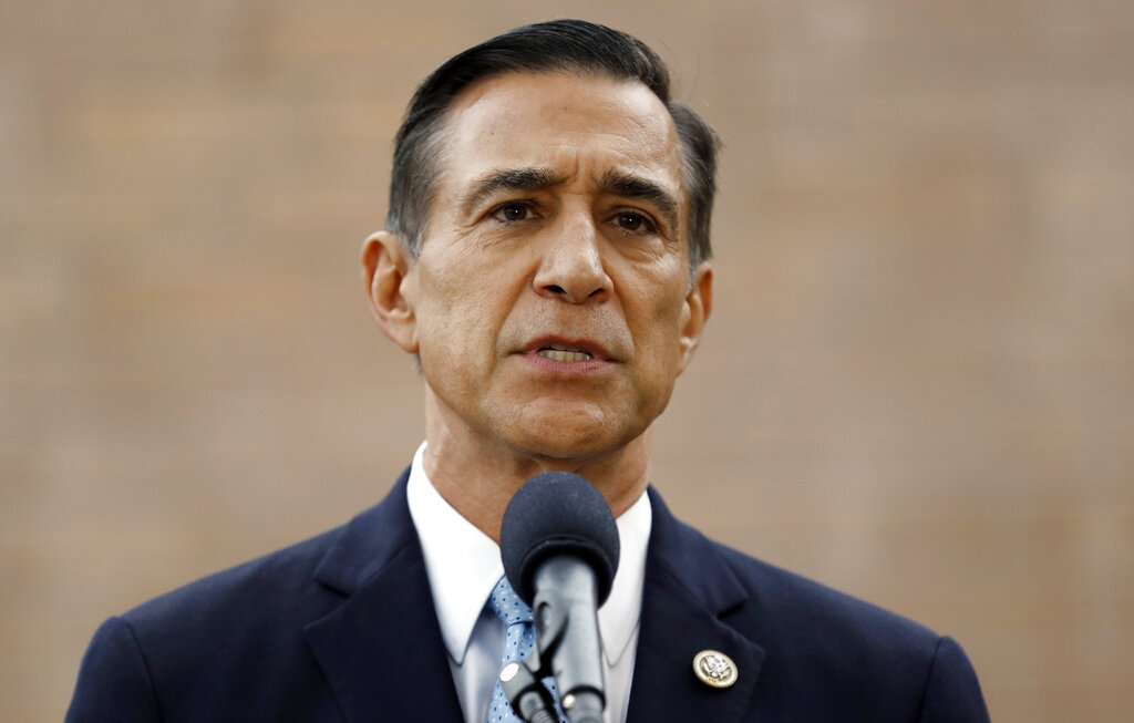 Former Republican congressman Darrell Issa speaks during a news conference in El Cajon on Sept. 26, 2019. (AP Photo/Gregory Bull)
