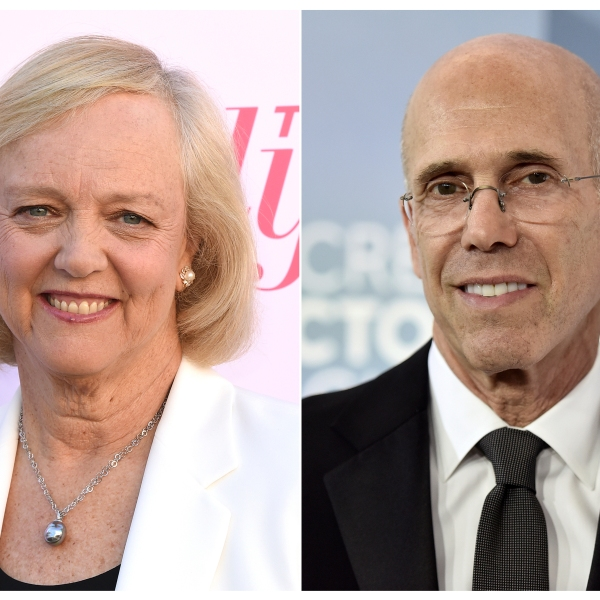 This combination photo shows Meg Whitman at The Hollywood Reporter's Women in Entertainment Breakfast Gala in Los Angeles on Dec. 11, 2019, and Jeffrey Katzenberg at the 26th annual Screen Actors Guild Awards in Los Angeles on Jan. 19, 2020. (Associated Press)